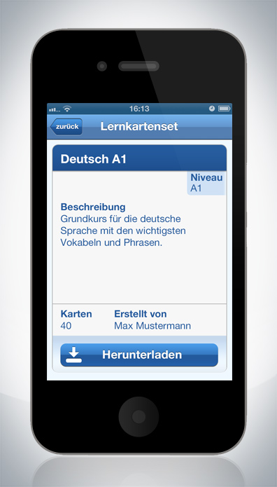 iphone android app ui design for the Goethe-Institut