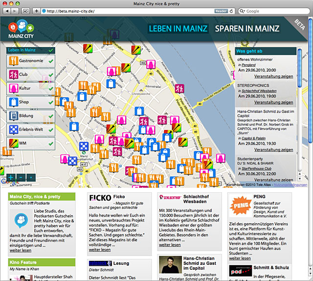 Interface icons for the website Mainz City